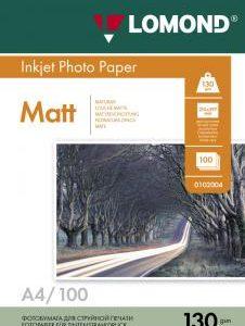 Матовая фотобумага Lomond A4 130 г/м2 100 листов