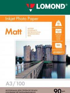 Матовая фотобумага Lomond A3 90 г/м2