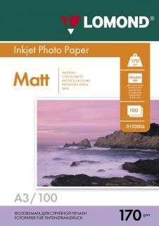 Матовая фотобумага Lomond A3 170 г/м2 100 листов