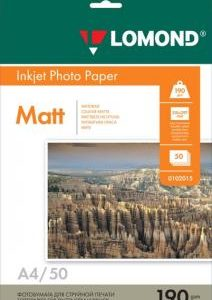 Двусторонняя фотобумага Lomond A4 190 г/м2 матовая 50 листов