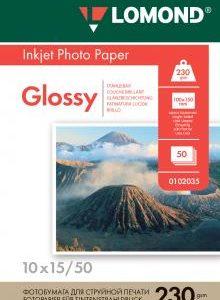 Глянцевая фотобумага 10x15 Lomond 230 г/м2 50 листов