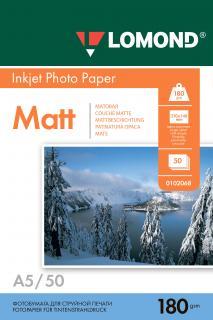 Матовая фотобумага Lomond A5 180 г/м2 50 листов