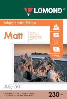 Матовая фотобумага Lomond A5 230 г/м2 50 листов