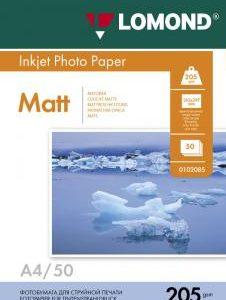 Матовая фотобумага А4 Lomond 205 г/м2 50 листов