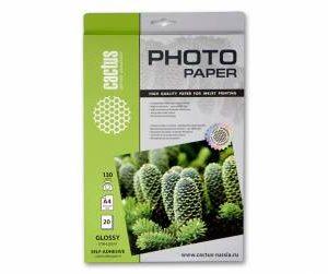 Самоклеящаяся бумага Cactus 130 глянц А4 20л