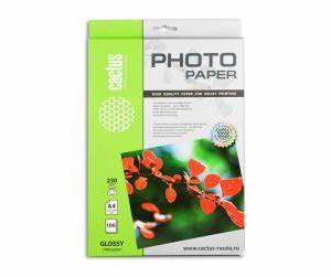 Глянцевая фотобумага Cactus A4 230 г/м2 100 листов
