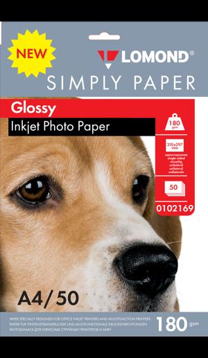 Глянцевая бумага А4 Lomond 180 г/м2 50 листов