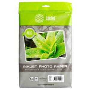 Глянцевая фотобумага Cactus A4 180 г/м2 50 листов