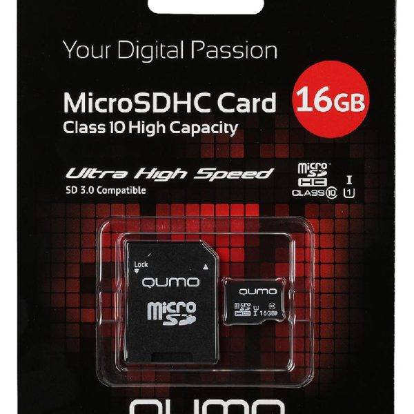 Карта памяти microSDHC 16Gb Qumo класс 10
