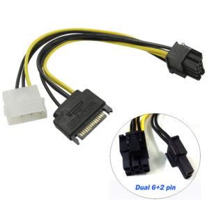 Переходник питания видеокарт 6/8 pin - Sata+Molex